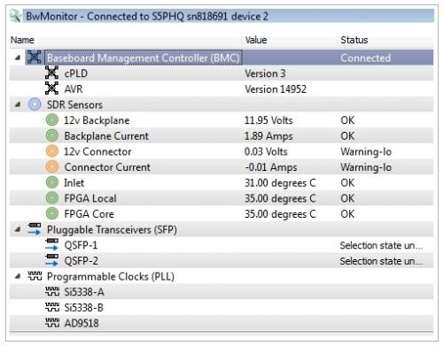 BittWorks II Toolkit include BwMonitor app provides a view into the board management capabilities like live board power and temperature display of BittWare hardware.