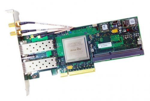 BittWare A5PS is a half-height / half-length PCIe slot card with Intel Arria V GZ FPGA supporting up to 8 GB of DDR3 SDRAM with ECC, 512 MB RLDRAM3, 36 MB QDRII-plus.