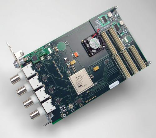 MSDV Mezzanine with Virtex 5 FPGA for PCI / PCIe supporting DVB-ASI / SMPTE protocol for 4x digital video signals by Engineering Design Team.