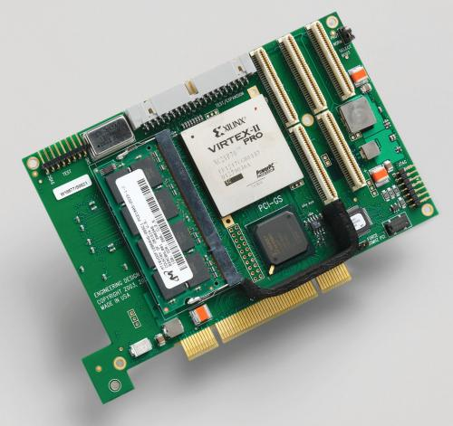 EDT PCI GS DMA board supporting Xilinx Virtex II Pro PowerPC processors with 8MB SRAM + 1 GB DRAM and additional ATA bridge option.