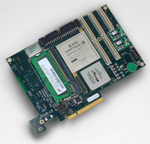 EDT PCIe8 LX with Xilinx Virtex 5 supporting 8-lane DMA device and different FPGA options.
