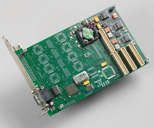 SSE Mezzanine board for PCI / PCIe main board with 2 input and 1 output ECL channels supporting 4x groups off 32x additional LVDS, ECL, or RS-422 signals from EDT.
