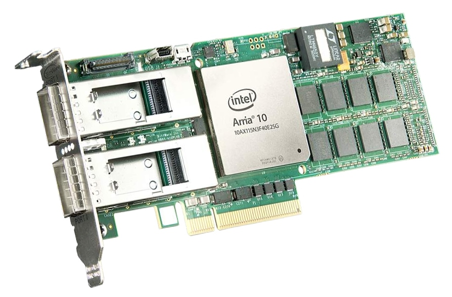BittWare A10PL4 low-profie PCIe x8 card with Intel Arria 10 GX FPGA supports 1150K logic elements, gen3 PCIe Hard IP block, and 1.3 TFLOPS floating point performance.